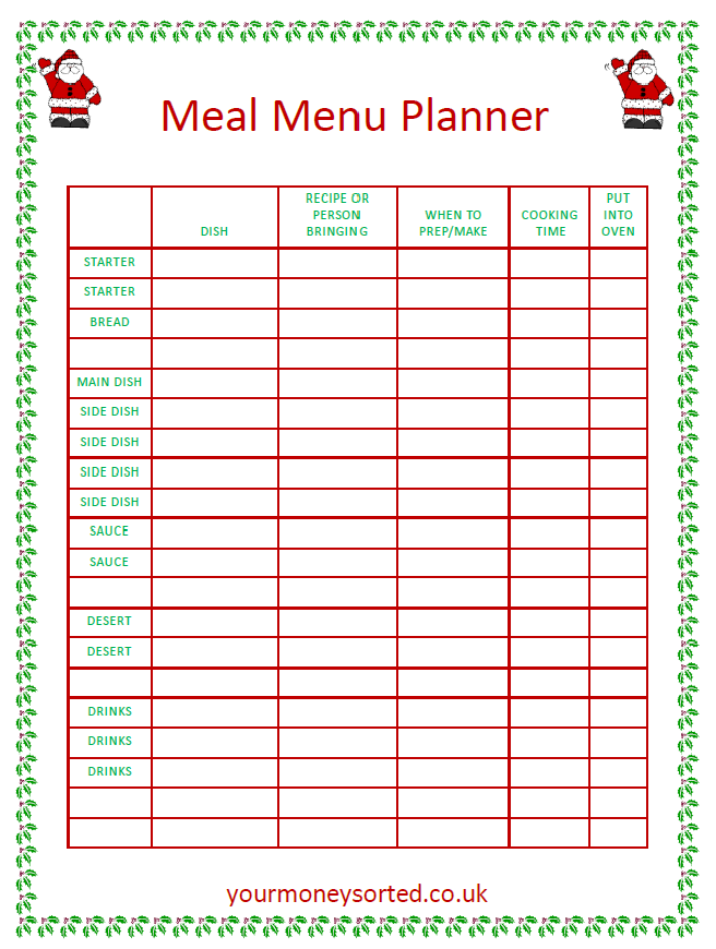 christmas meal planner