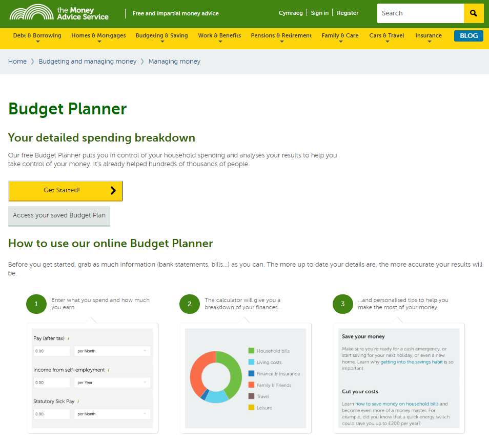 money advice service budget planner